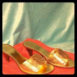 Tory Burch metallic gold mule stacked heel